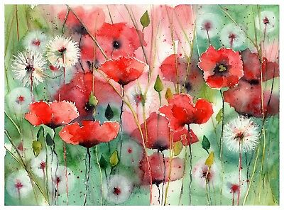 Dandelions And Poppies - Original watercolor painting signed, Summer Fine Art