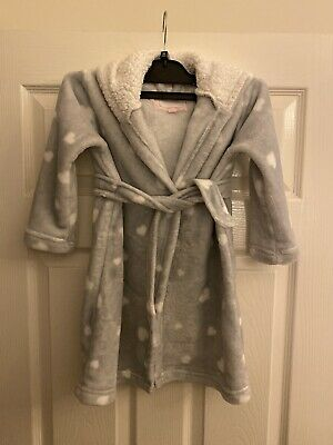 Girls Hooded Dressing Gown, Age 3-4, Grey with White Hearts