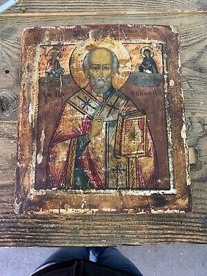 RUSSIAN ANTIQUE ICON HAND PAINTED ST NICHOLAS 18th? 19TH CENTURY