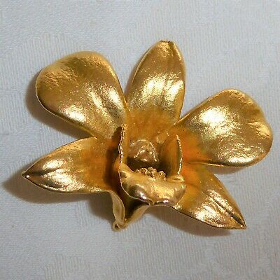 Beautiful Real Orchid Flower Brooch Pendant 24K Gold Plated Hand Crafted