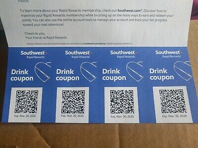 Four (4) Southwest Airlines Drink Coupons Exp Nov 2020