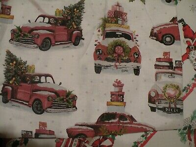 ENVOGUE Vintage Look Pickup Truck with Christmas Tree 100% Cotton Shower Curtain