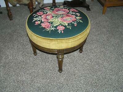 Vintage Floral Needlepoint Solid Wood Foot Stool Ottoman Round Custom Gorgeous!