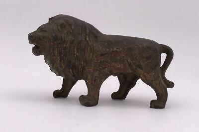 Antique Cast Metal Still Bank Lion with Tail Between Legs, Ca. 1910