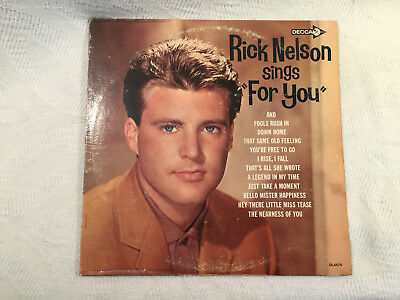 "Rick Nelson ‎– Rick Nelson Sings ""For You"" - Decca ‎– DL4479 - 1963 - Very clean"