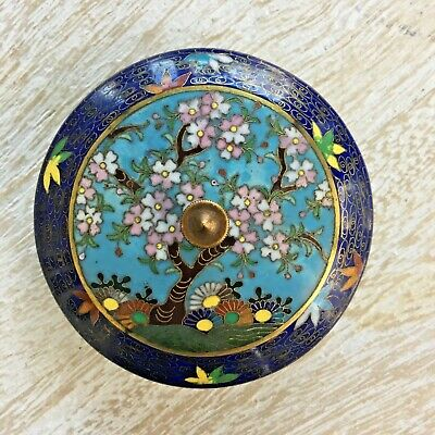 Marked Ando Antique Japanese Cloisonné Enamel Cherry Blossom Tree Jar or Box