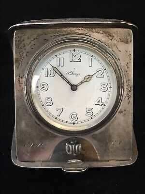 Antique Concord Sterling Silver 8-Day Swiss Art Deco Travel Clock Running WOW!!!