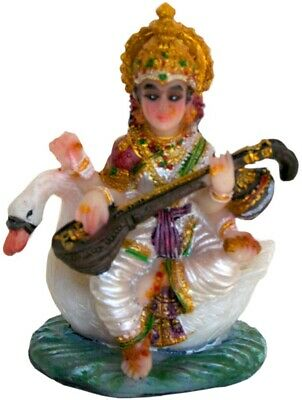 """Saraswati Statue 2.5"""" Small Goddess of Learning and Knowledge on Swan (L115)"""