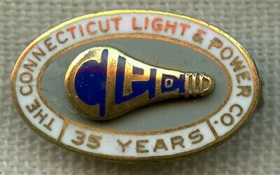 1952 Connecticut Power & Light Co. 35 Years of Service Pin by Whitehead & Hoag