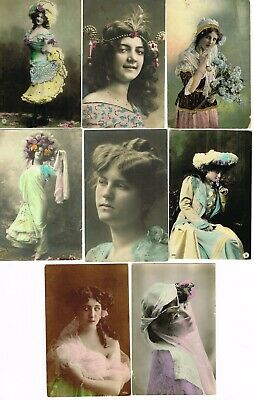 8 x ANTIQUE COLOURISED POSTCARDS - LADIES FASHION GLAMOUR 1906-14 used