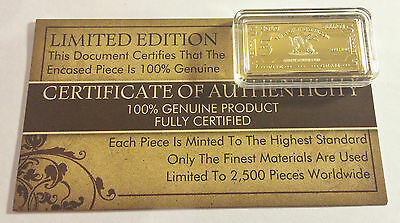 """NEW 5 Gram """"Year Of The Dragon"""" Certified Ingot Finished in 999 Fine 24 k Gold"""