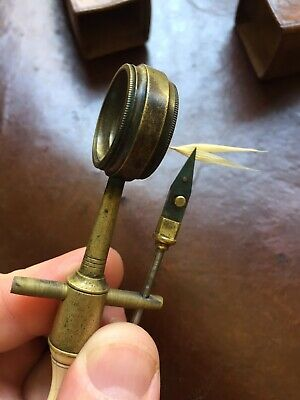 Rare Antique Compass Flower Simple Microscope In leather Case Scientific Optical