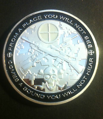 """1 oz 40mm Sniper Coin 'Awesome Detail And Insig"""" Finished with 999 Fine Silver"""
