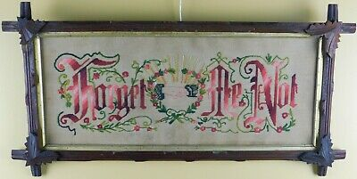 Antique Original 19Th Century Punch Paper Motto Sampler  - Forget Me Not
