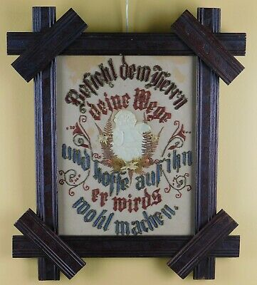 Antique Original 19Th Century Punch Paper German Motto Sampler - Awesome Frame