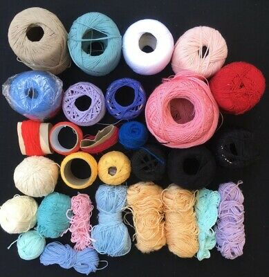 Bulk Lot Knitting Crochet Cotton Thread Various Colours & Brands New & Used