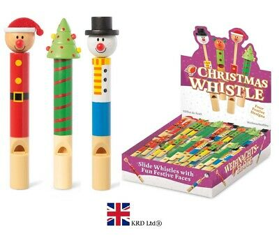 CHRISTMAS WHISTLE Wooden Toy Kids Party Bag Stocking Filler Novelty T16186 Gift