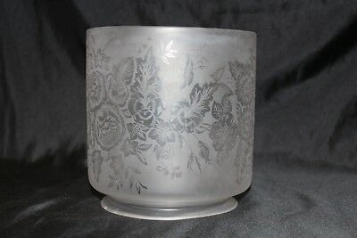 """Antique Floral Peonies Daisy Etched Glass Gas Lamp Shade Victorian Fitter 4 3/4"""""""