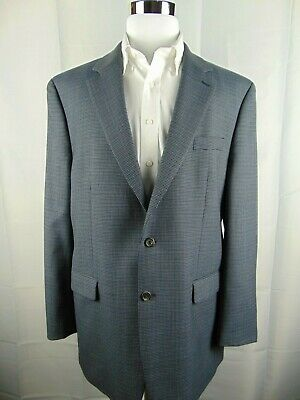 Lauren Ralph Lauren Men's 2 Button Blue Black Houndstooth Blazer Sport Coat 46L