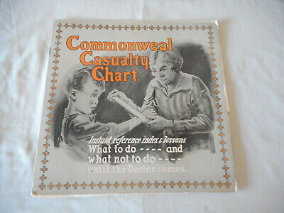Old Medical, First Aid Book - Commonweal Casualty Chart and leaflet