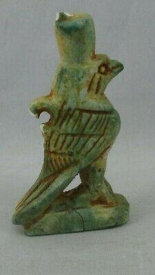 Unique Egyptian Antique Glazed statue Sacred Bird Falcon Horus Faience Amulet