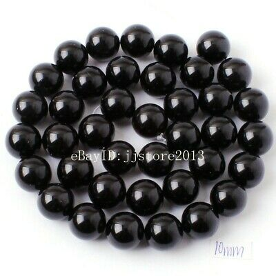 """10mm Smooth Natural Black Agate Onyx Round Shape DIY Gems Loose Beads Strand 15"""""""