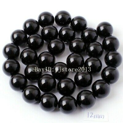 """12mm Smooth Natural Black Agate Onyx Round Shape DIY Gems Loose Beads Strand 15"""""""