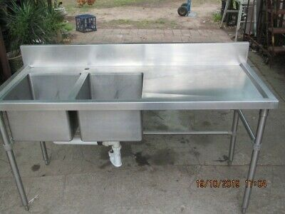 Brayco Double Stainless Sink Bench Commercial Kitchen