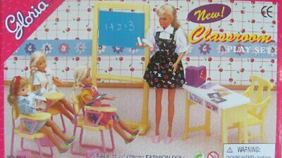 Gloria Dollhouse Furniture for Barbie Dolls - Classroom with Desk, Chairs