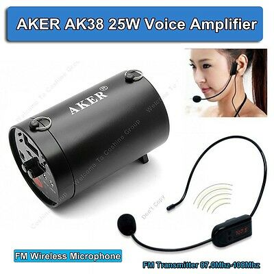 AKER AK38 25W Waistband Voice Amplifier Booster Loundspecke With FM Wireless Mic