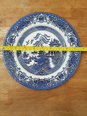 Eit England Old Vintage Blue & White China Willow Pattern Large Dinner Plate