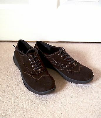 Easy Street Lucky Brown Faux 'Super Suede' Lace Up Shoes 7.5 AA Width Worn Once