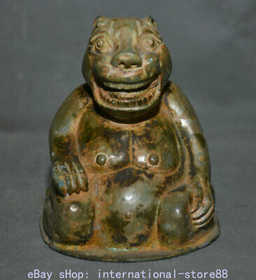 """4"""" Old Chinese Bronze Ware Western Zhou Dynasty Palace Tiger Beast Statue"""