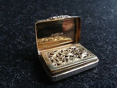 Antique Snuff Box / Vinaigrette - Sterling Silver & Gold - 1830s Taylor & Perry