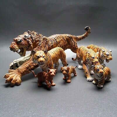 "Lot Of 7 Tiger Figures 12"" Siberian Tiger 5"" Bengal Tigers Safari Ltd. Papo"