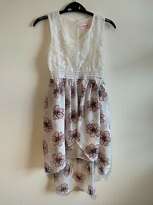 Girls Pink & White Sequin Floral Dress Age 7