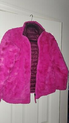 North Face Kids Girls Reversible Mossbud Swirl Jacket  L (14/16) magenta pink