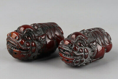 Chinese Exquisite Hand-carved beast Carving OX Horn statue 2pcs