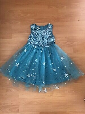 Stunning Monsoon Girls Frozen Inspired  Sparkly Xmas/Party Dress Age 9 Vgc