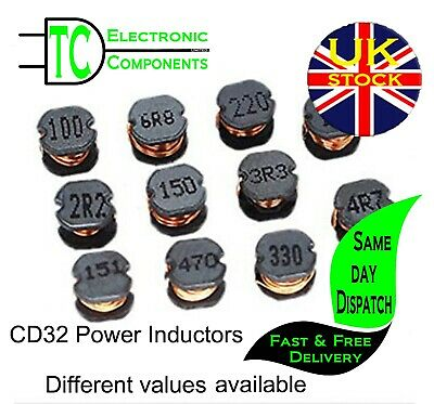 CD32 SMD Power Inductors Different values available (10 pack) **UK SELLER**