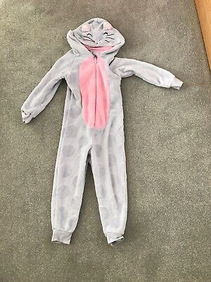 Girls Fleece All In One Cat Design Size 5-6 Years