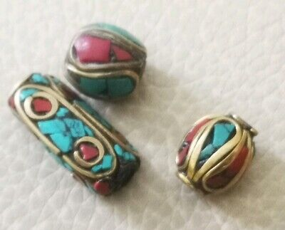 Lot Of 3 Late Medieval Silver Beads Goldplated Rare Stones Pendant Collectable