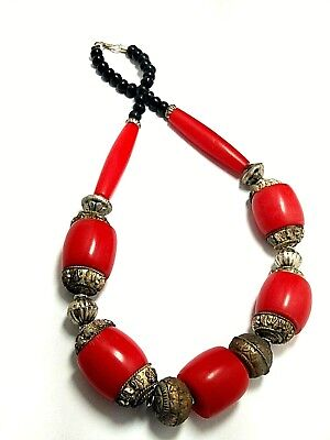 Banjara Necklace Tibetan Antique India Amber Resin Look Beads Tribal Bold