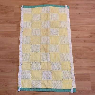 Handmade Vintage Baby Quilt in Yellow and Green Crib Blanket