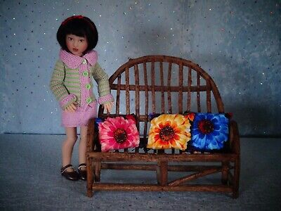"AllforDoll OOAK DIORAMA Furniture BENCH for 12"" - Kish Barbie Fashion Royalty"