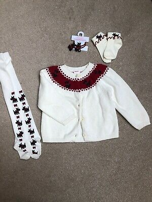 Gymboree Cardigan With Matching Tights, Socks And Hair Accessories