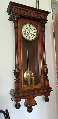 Antique Austrian single weight Vienna regulator wall  Clock Rosewood case