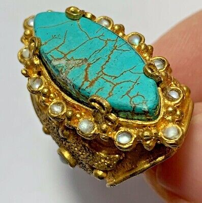 FANTASTIC - VINTAGE RING WITH MANY RARE STONES 26.4gr 40.0mm (inner 19.5mm)
