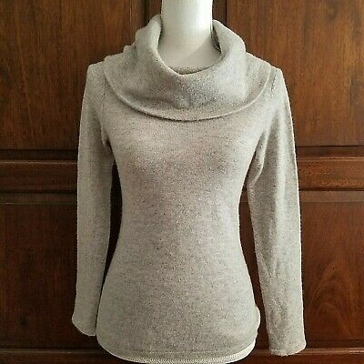 Sundance Sweet Sentiments 100% Cashmere Cowl Neck Pullover Gray Sweater PXS $218