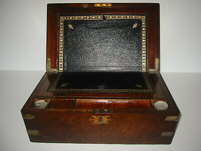 ANTIQUE MAHOGANY LAP/CAMPAIGN DESK with SECRET DRAWS AND BRASS FURNISHINGS